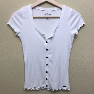 3 for $15: White ruffle edge slim tee with buttons